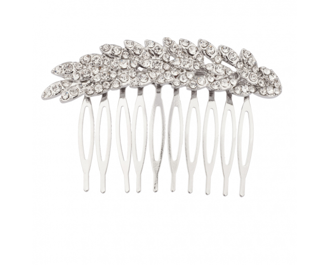 Pave Crystal Leaf Brance Bridal Bride Bridesmaid Hair Comb