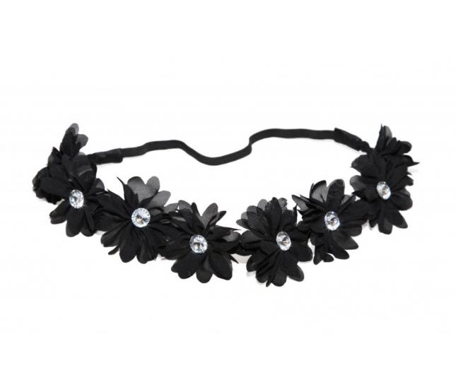 Lux Black Fabric Flower Rhinestone Stretch Headband Chiffon Floral Head Band