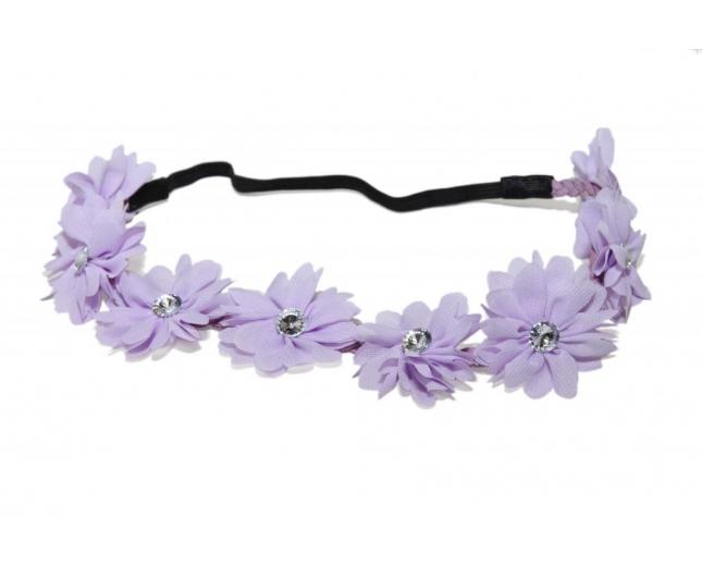Purple Fabric Flower Floral Clear Rhinestone Stretch Headb Floral Head B