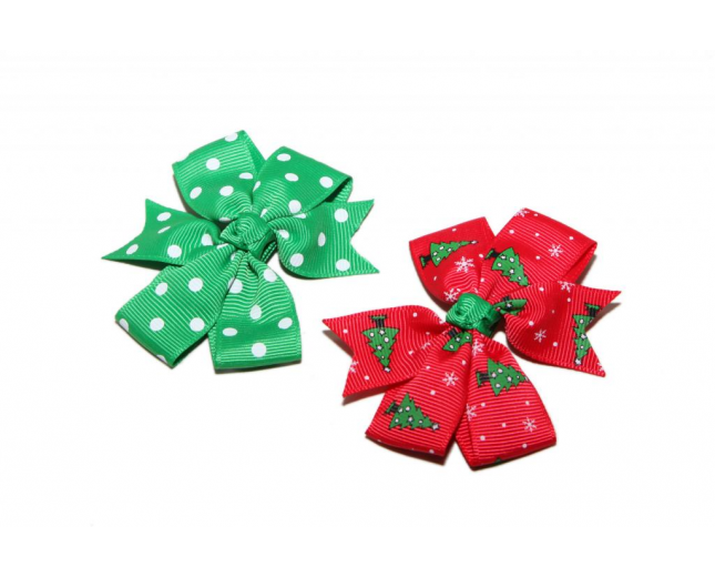 Christmas Tree Red Green Polka Dot Holiday Xmas Snowflake Hair Clip Bow