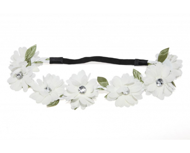 Full Bloom White Stretch Flower Green Leaf Coachella Floral Headband