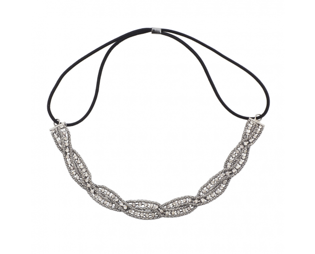 Hematite Braided Mesh Crystal Rhinestone Stretch Headband