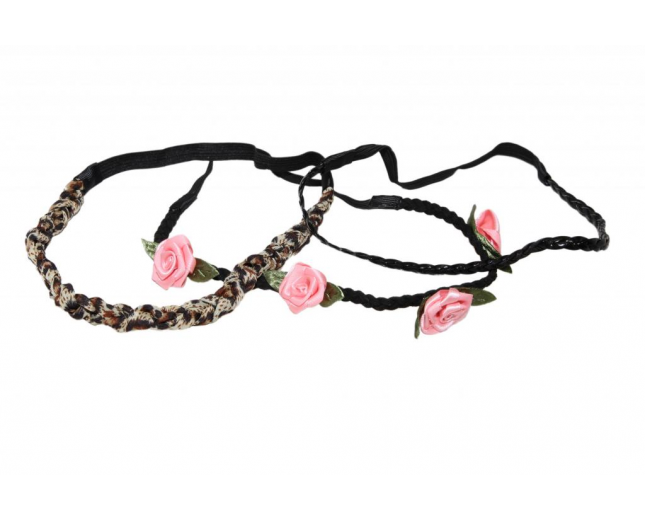 Pink Rose Green Leaf Leopard Black Braided Stretch Headb Set (3 PC)