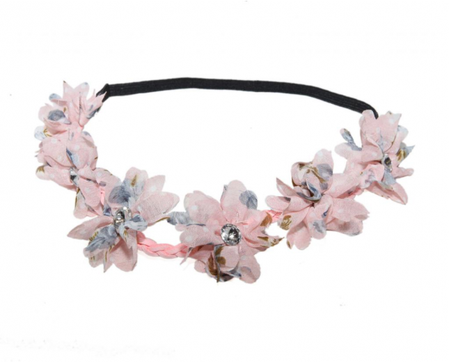 Pink Braided Floral Rhinestone Stretch Flower Headband