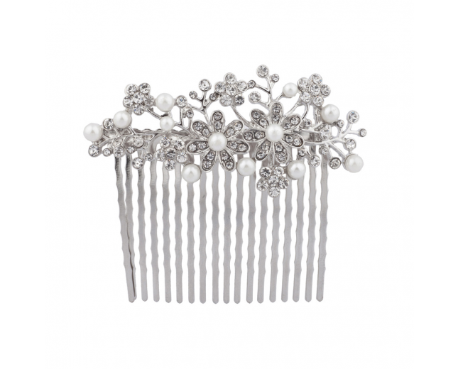 Faux Pearl Pave Crystal Floral Bridal Flower Hair Comb