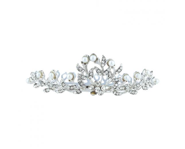 Silver Tone Bridal Faux Pearl Rhinestone Mini Crown Hair Comb