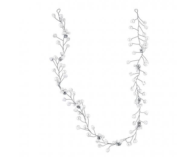 Silvertone and Pearl Bridal Birds Breath Wire Vine Hair Piece