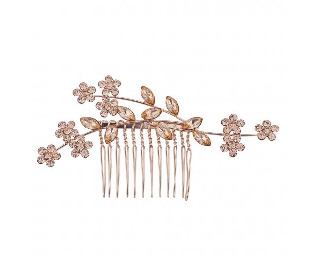 Rose Gold Rhinestone Bridal Floral Flower Vine Metal Hair Comb