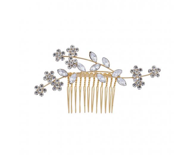 GoldTone Crystal Rhinestone Bridal Floral Flower Vine Hair Comb
