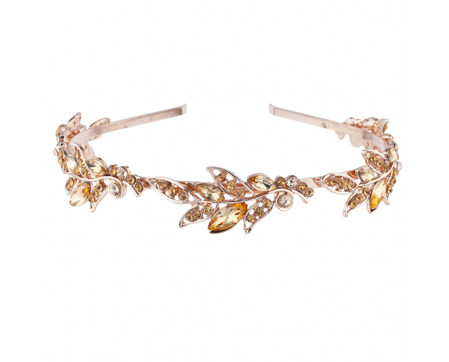 Rose Gold Tone Bridal Flower Stone Hair Crown Headband