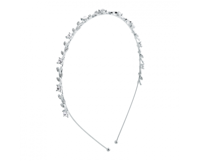 Silver Tone Faux Rhinestone Mini Leaf Bridal Headband Hair Crown