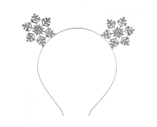 Silver Tone Christmas Holiday Snowflake Cat Ear Headband