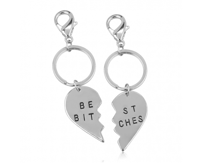 Best Bitches BFF Best Friends Forever Matching Keychain Set (2 PC).