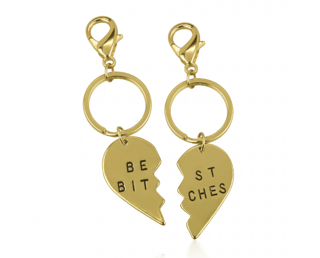 Best Bitches BFF Best Friends Forever Matching Keychain Set (2 PC)