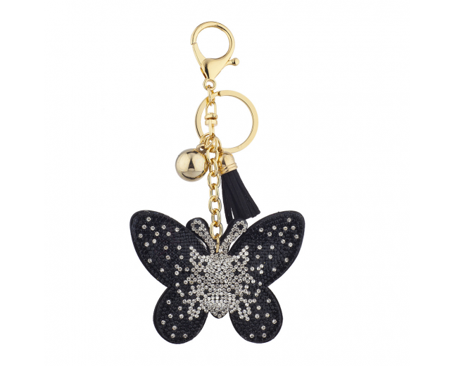 Black Gold Sticker Stone Studded Butterfly Keychain Bag Charm