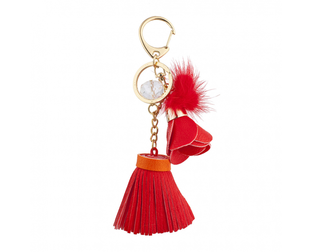 Goldtone and Red Tassel Flower Pom Novelty Keychain Bag Charm