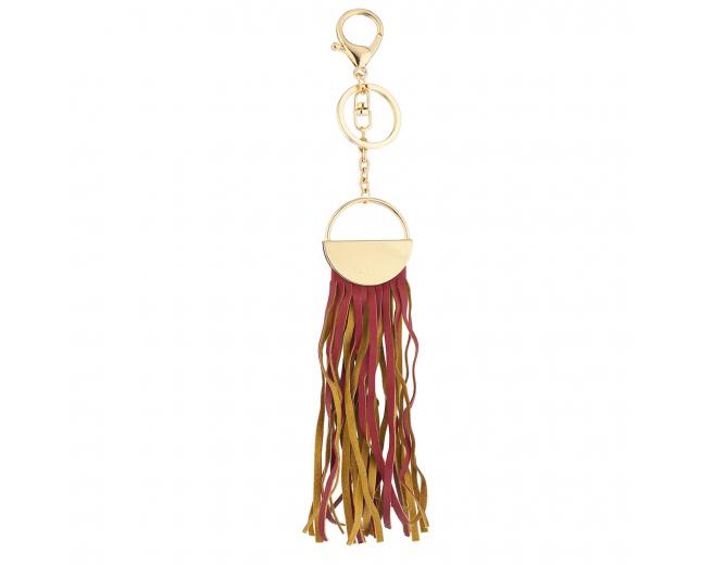 Gold Tone and Red Fabric Tassel Circle Bag Charm Key Chain