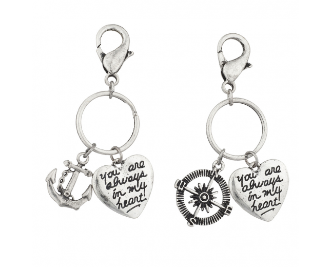 Burnish Silver Nautical Your Always in my Heart Charm Keychain