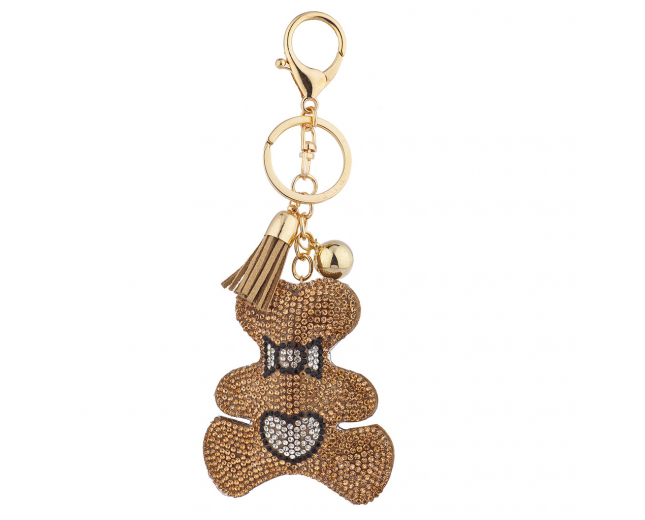 Tan Gold Sticker Stone Studded Teddy Bear Keychain Bag Charm