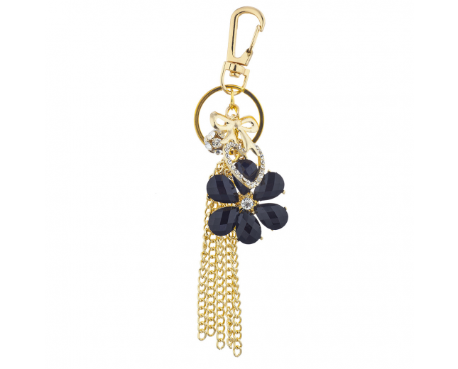 Gold Tone Black Flower Chain Tassel Cluster Keychain Bag Charm