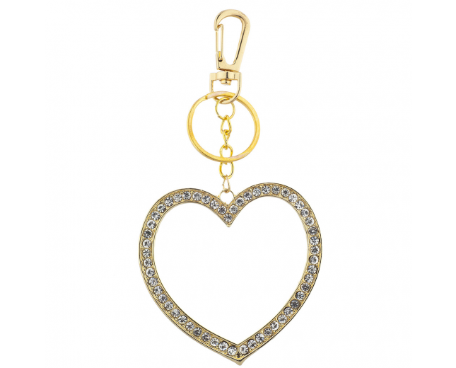 Gold Tone Large Pave Rhinestone Cutout Heart Keychain Bag Charm