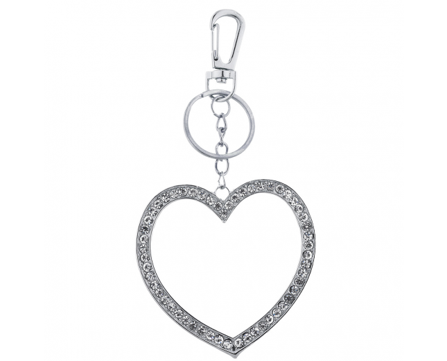 Silver Large Pave Rhinestone Cutout Heart Keychain Bag Charm
