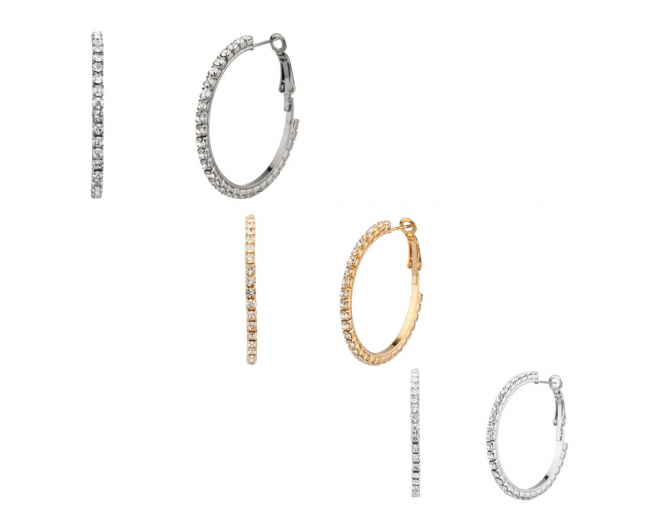 Pave Multi Hoop Earring Set