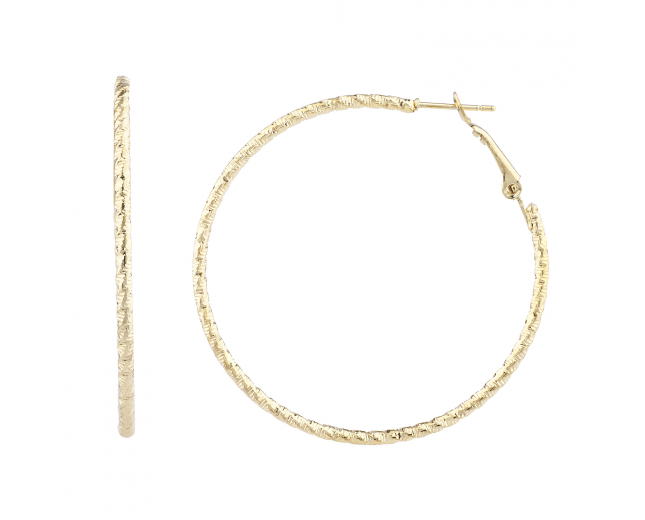 Gold Tone Fashion Classic Cut Diamond Cut Hoop Earrings Women