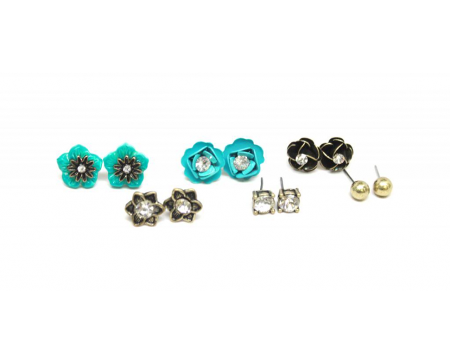 Turquoise Black Flower Floral-Ball-Stud Earrings Set (9 Piece)