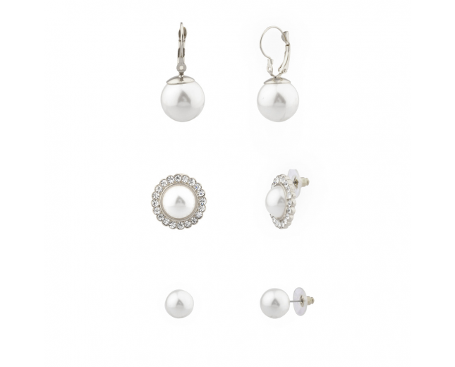 Faux Pearl Pave Crystal Bridal Multiple Earrings Set.