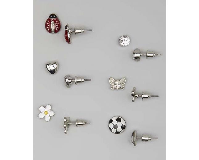 Kids, Girls & Women's White & Red Soccer & Ladybug Stud Earring Set