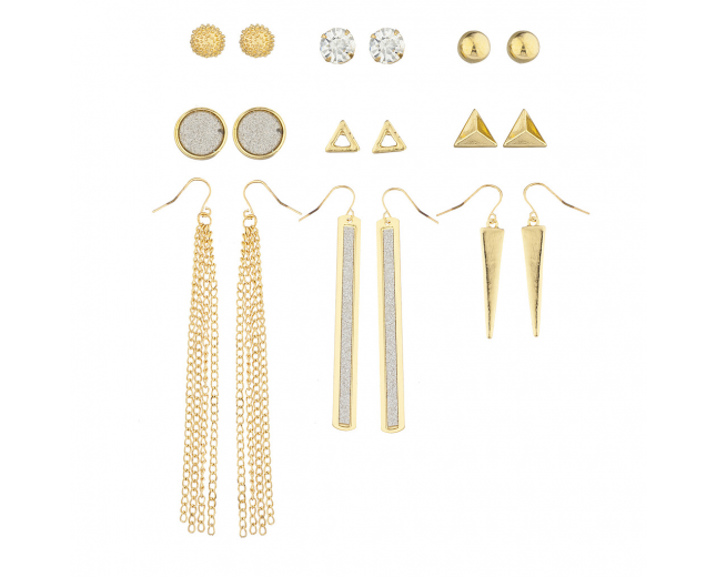 Gold Tone Crystal Silver Glitter Geometric Stud Drop Earring Set