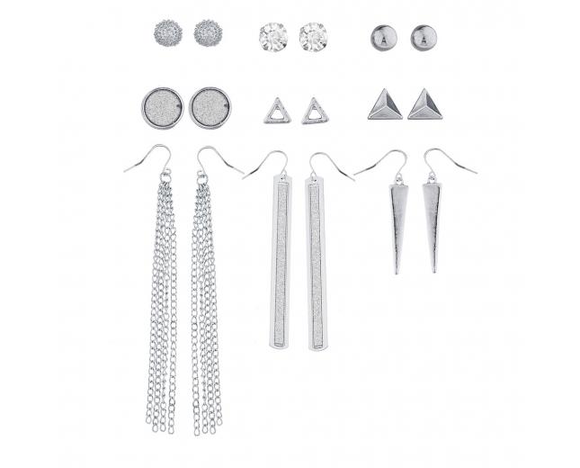 SilverTone Crystal Glitter Geometric Stud Drop Earring Set