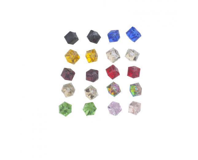 Multicolor Cube Shape Birth Stone Rhinestone Earring Pack 10PR