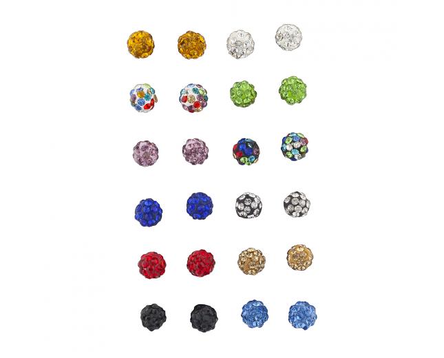 Multicolor fireball Faux Rhinestone Earring Multi Pack Set 12PR
