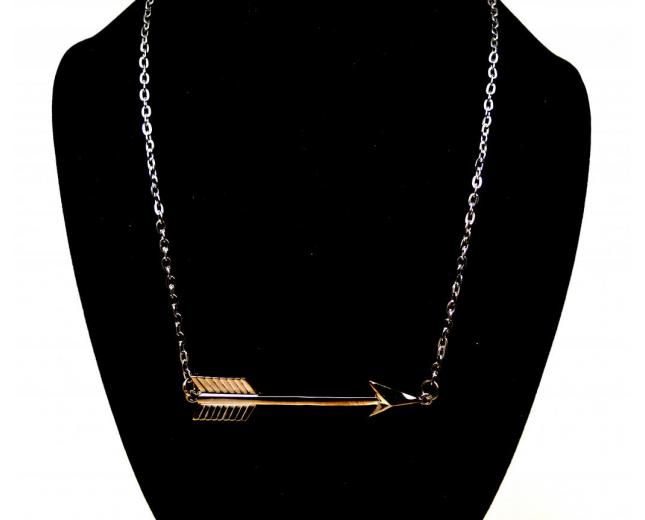 Sideways Arrow Pendant Necklace