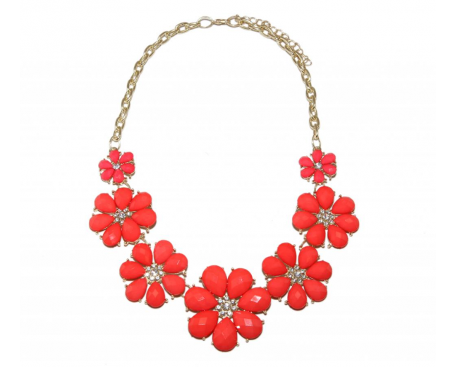 Rhinestone Red Flower Chain Necklace