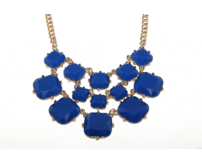 Royal Blue Geo Stone Chain Link Necklace