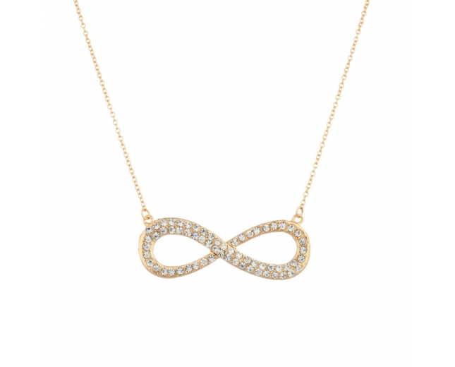 Pave Infinity Rhinestone Pendant Necklace