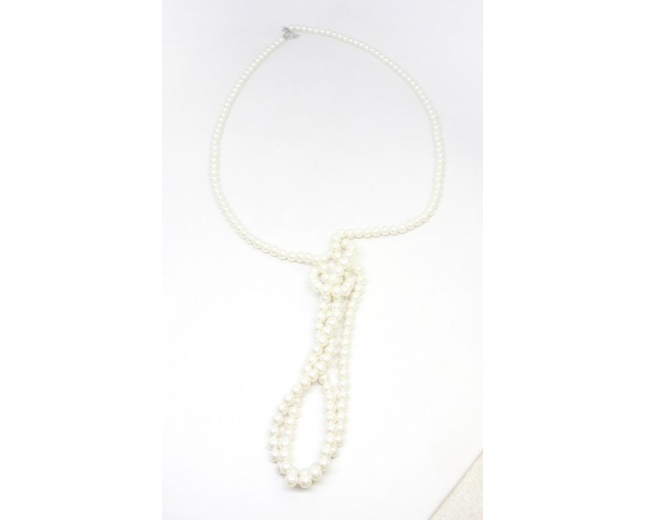 Faux Pearl Knot Necklace