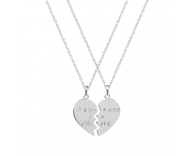 Partners in Crime Heart BFF Best Friends Heart Pendant Necklaces (2 PC)