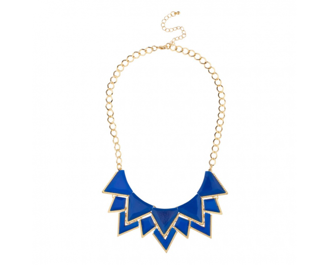 Royal Blue Spike Bib Statement Chain Link Necklace
