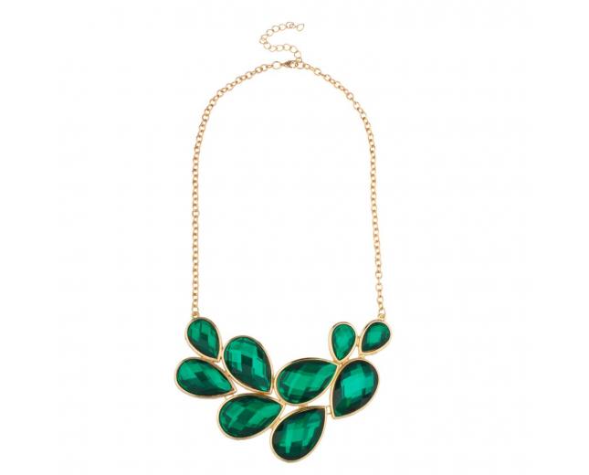 Green Stone Bib Statement Tear Drop Chain Necklace