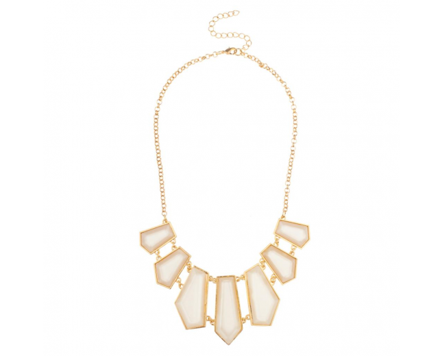 Geometric Creme Statement Bib Chain Necklace