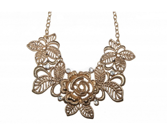 Leaf Flower Floral Floral Rhinestone Bib Statement Chain Necklace