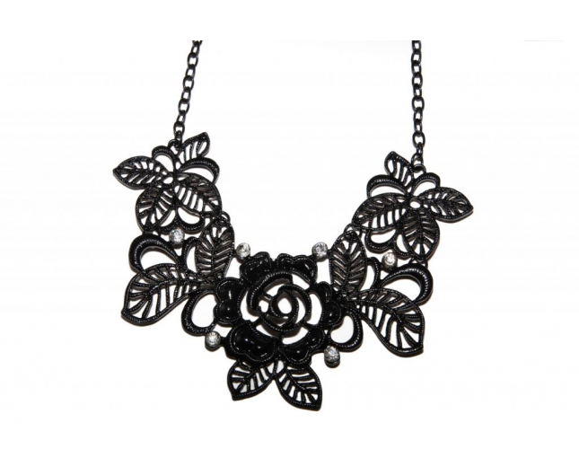 Black Leaf Flower Floral Floral Rhinestone Bib Statement Chain Necklace