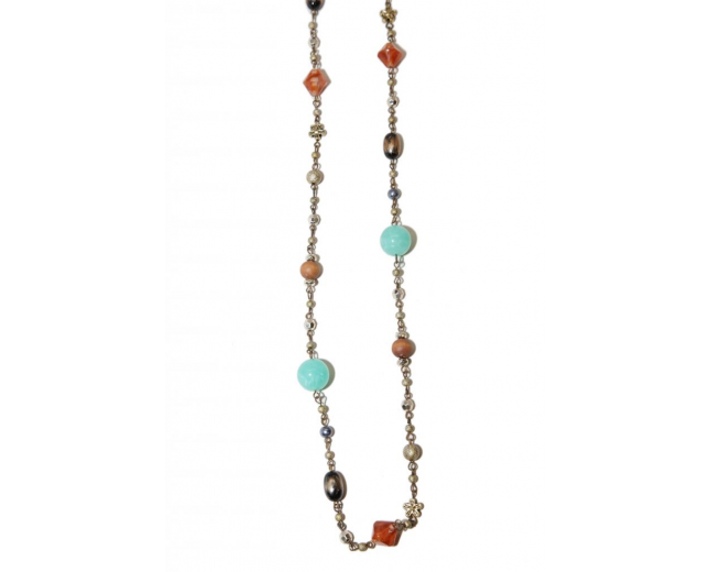 Turquoise Brown Stone Beaded Chain Necklace