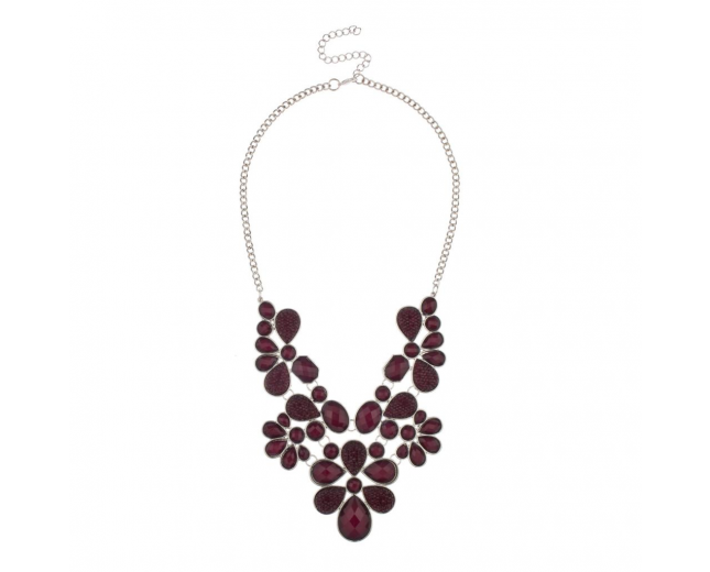Faceted Caviar Plum Teardrop Stone Large Statement Rhodium Chain Necklace