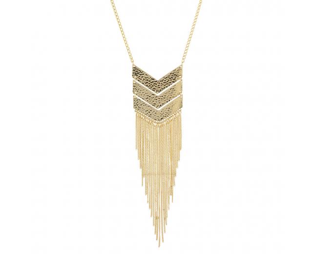 Goldtone Geo Tassel Fringe Fashion Jewelry Pendant Necklace