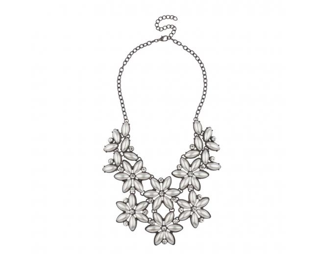 Crystal Floral Flower Elegant Bride Bridal Statement Necklace.